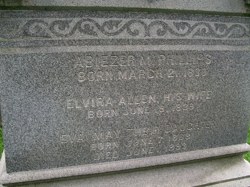 Abiezer and Elvira (Allen) Phillips (and daughter Eva May) - Woodlawn Cemetery